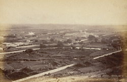 [Distant view of the] New Palace and garden at [Lashkar] Gwalior